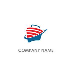 Suitcase travel arrow business logo vector