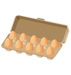 Ten fresh eggs in paper carton on white background vector