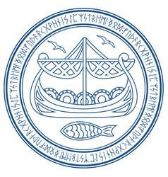Warship of the vikings drakkar in a circle vector