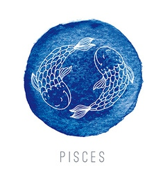 Watercolor of fishes Pisces vector image