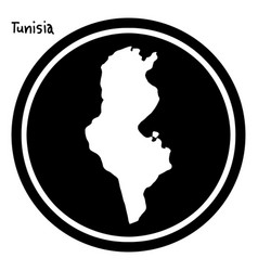 White map of tunisia on black circle vector