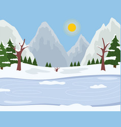 winter time ride on ice spruces with snowy tops vector image