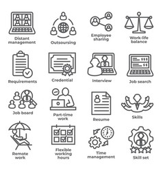 work from home line icons on white background vector image