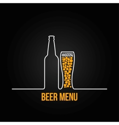 beer bottle glass deign background vector image vector image
