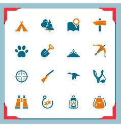 camping and hunting icons - in a frame series vector image