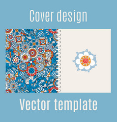 cover design with blue floral background vector image vector image