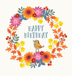 cute hand drawn autumn birthday greeting card vector image vector image