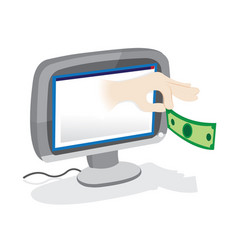 Hand giving money popping out from a pc monitor vector