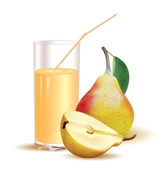 Glass with juice pear with leaf and half of pear vector