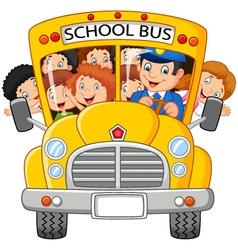 Happy children on school bus vector image