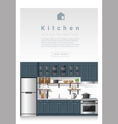 Interior design Modern kitchen banner 4 vector image