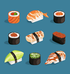 set of classical asian food white rice sushi vector image