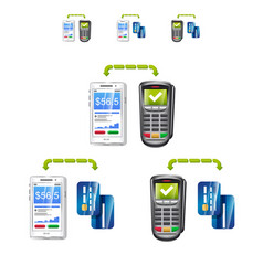 Set of payments with phone terminal and cards vector