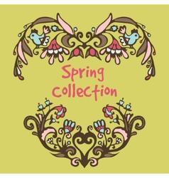 Spring border hand drawn doodles vector image vector image