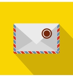 White postage envelope with stamp icon flat style vector image vector image