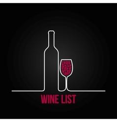 wine bottle glass list design menu background vector image vector image