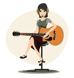 Woman playing guitar vector image