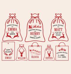 christmas bags and tags set christmas bags and vector image