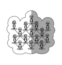 contour people team job icon vector image