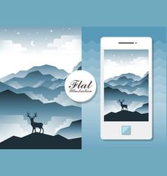 flat landscape with deer vector image