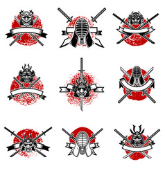 Set of emblems with japanese swords samurai masks vector