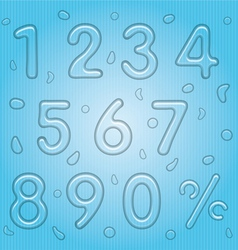 Transparent Water Drop Style Numbers Set vector image vector image