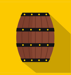 wine wooden barrel icon flat style vector image