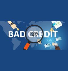 Bad credit vs good credit score loan financial vector