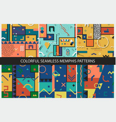 collection of seamless abstract memphis patterns vector image