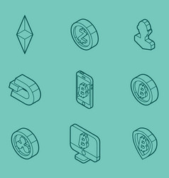 cryptocurrency outline isometric icons vector image