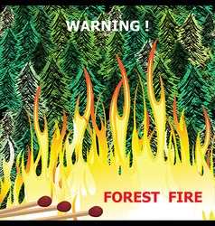 Forest fire wildfire burning tree in red and vector image vector image