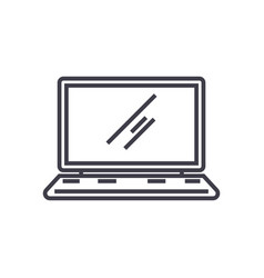 laptopnotebook line icon sign vector image vector image