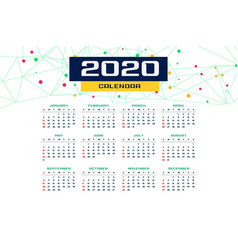 2020 new year calender template design vector