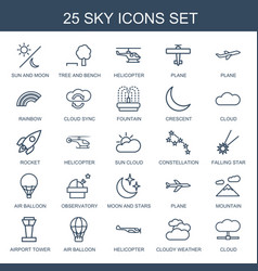 25 sky icons vector image