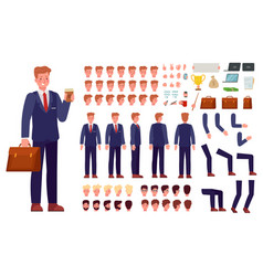 3rfsdf345wefcartoon businessman character kit vector image