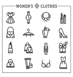Accessories women icons line vector