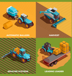 Agricultural machines isometric concept icons set vector