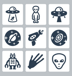 aliens and ufo icons set vector image