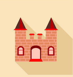 Ancient brick castle icon flat style vector