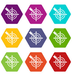 arrow target icons set 9 vector image
