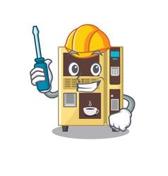 Automotive coffee vending machine in cartoon vector