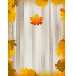 Autumn leaves on wooden background plus EPS10 vector image