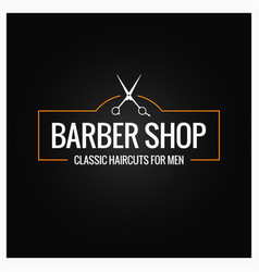 Barber shop logo with barber scissors on black vector