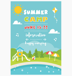 Beach camp or club for kids summer poster vector