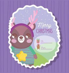 bear happy merry christmas tag vector image