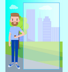 bearded man with cup of coffee near skyscrapers vector image