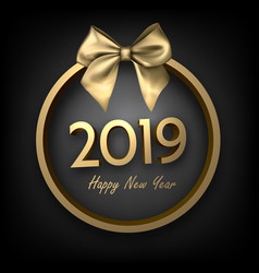 black and gold 2019 happy new year background with vector image
