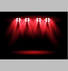 Bright red stadium arena lighting spotlight vector