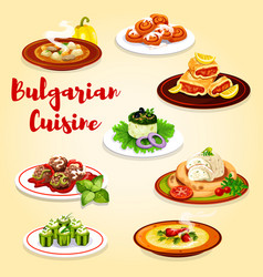 Bulgarian dishes with meat vegetables and cheese vector