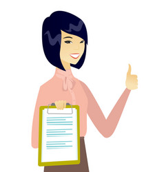 business woman with clipboard giving thumb up vector image